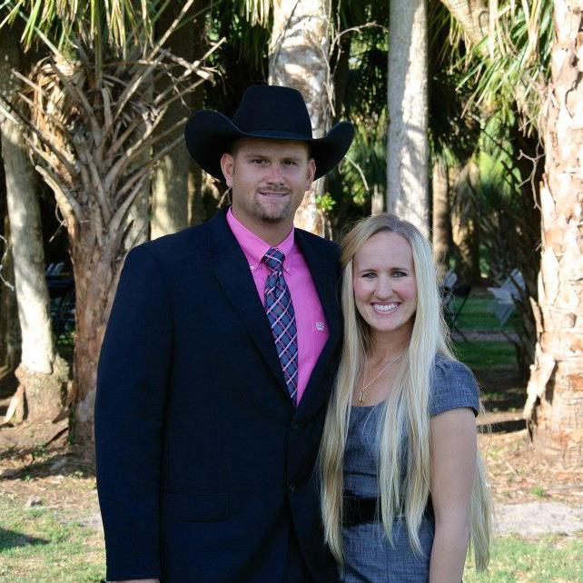 Bull Righter and pastor Stephen Bruner and his wife Tori Bruner from Indiantown, Florida