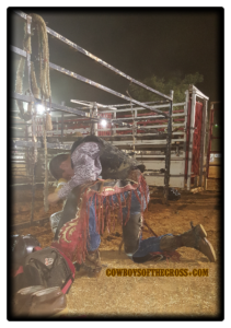 An opening prayer at a rodeo or bull riding is common but you'll often see a cowboy or bull rider pray again on their own after cowboy church or before they ride.